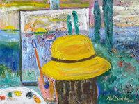 artist in yellow hat