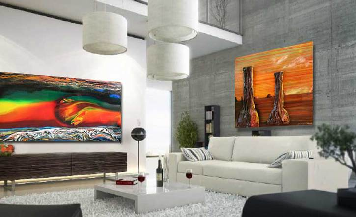 two paintings in modern living room