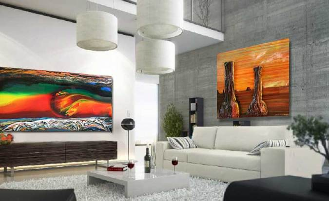 Two paintings in Room Setting