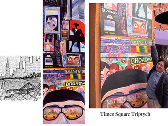 Times Square - Vertical Triptych